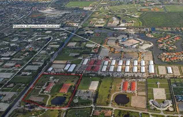This aerial shot shows the estates proximity to the Winter Equestrian Festival and the size of the property (in red).
