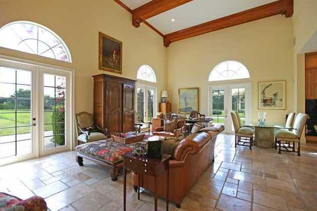 Beautiful family room overlooks the expansive backyard.