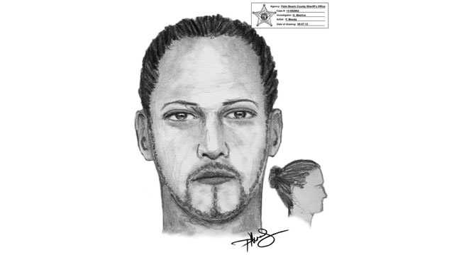 This is the sketch of a man wanted in connection with an armed carjacking and home invasion in West Palm Beach.