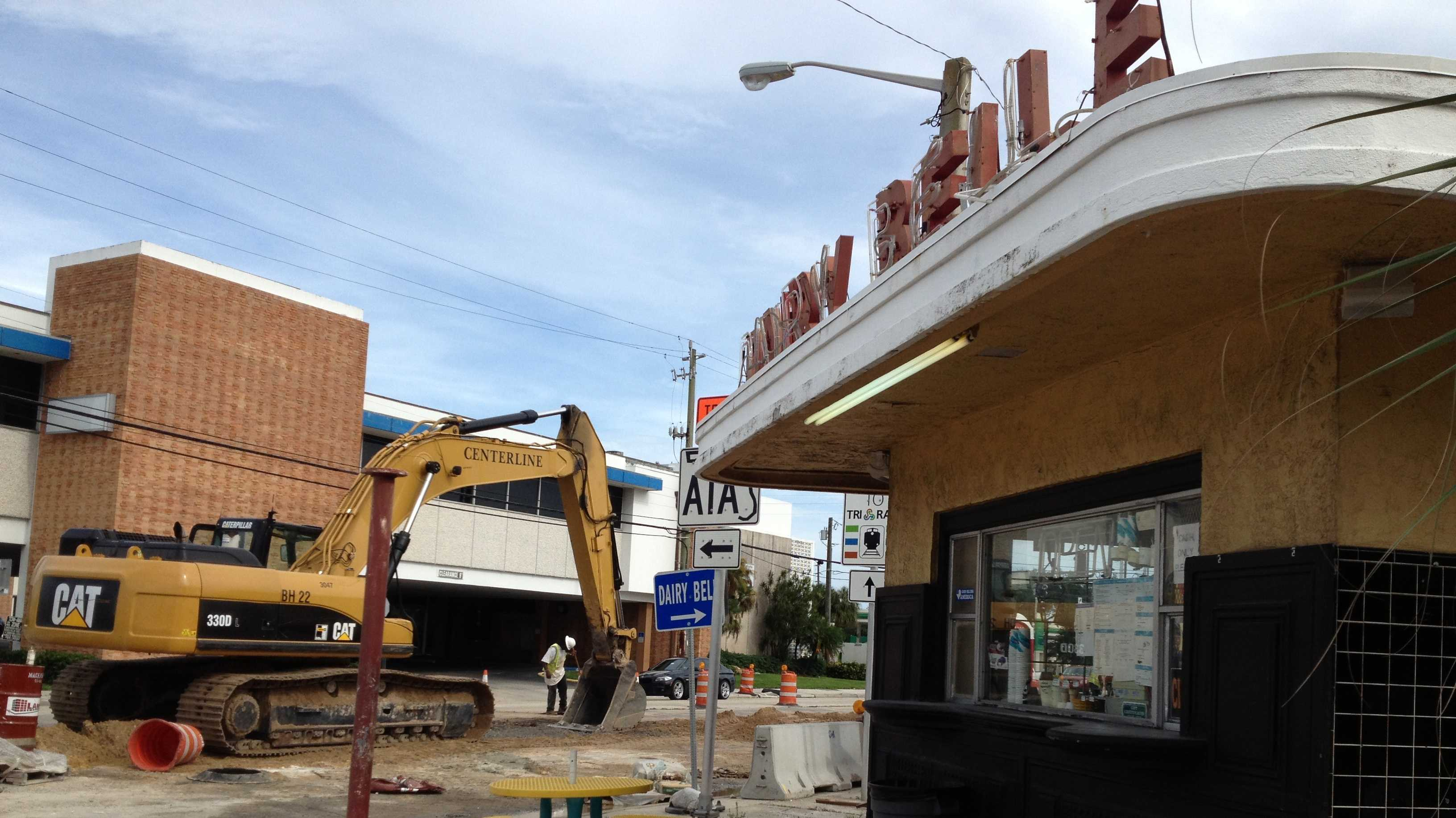 Construction along Broadway prompted Dairy Belle to close Tuesday.