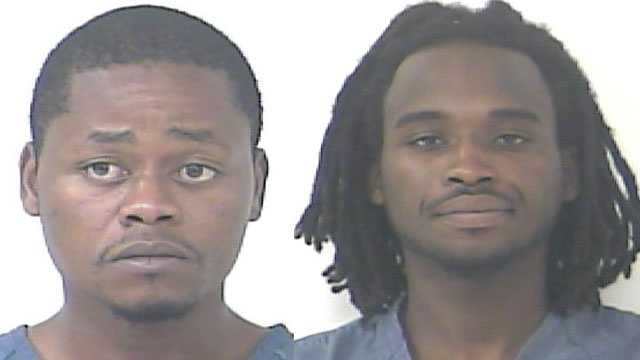 Dexter Murriel (right) and Adam Peavy were arrested after police say they found drugs, ammunition and a gun at a Fort Pierce home.