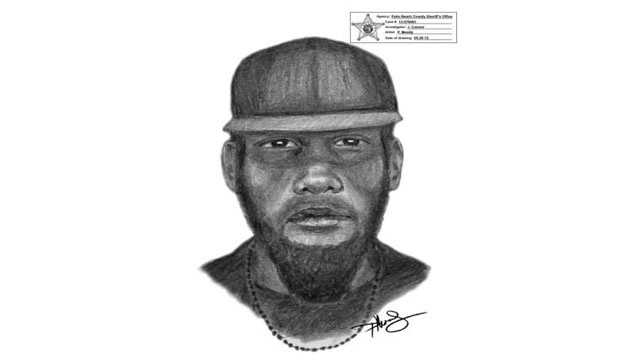 Deputies released this sketch of a man who robbed a gas station employee of his money bag while he was making a deposit at a Royal Palm Beach bank.