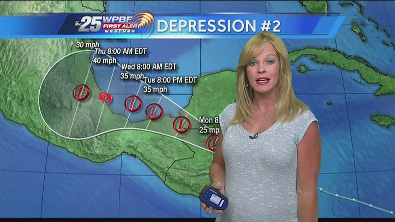 Sandra Shaw says the second tropical depression of the 2013 Atlantic hurricane season is headed towards Mexico.