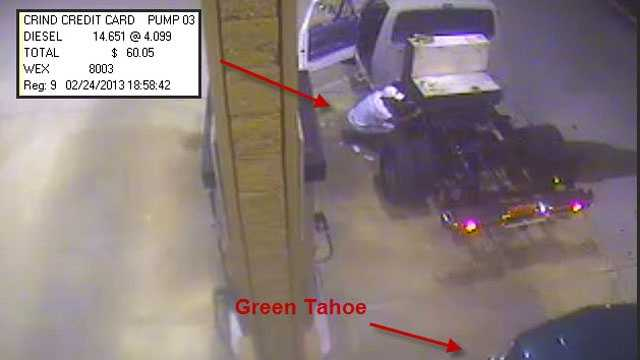 This surveillance video shows a man pumping gas with a stolen credit card.