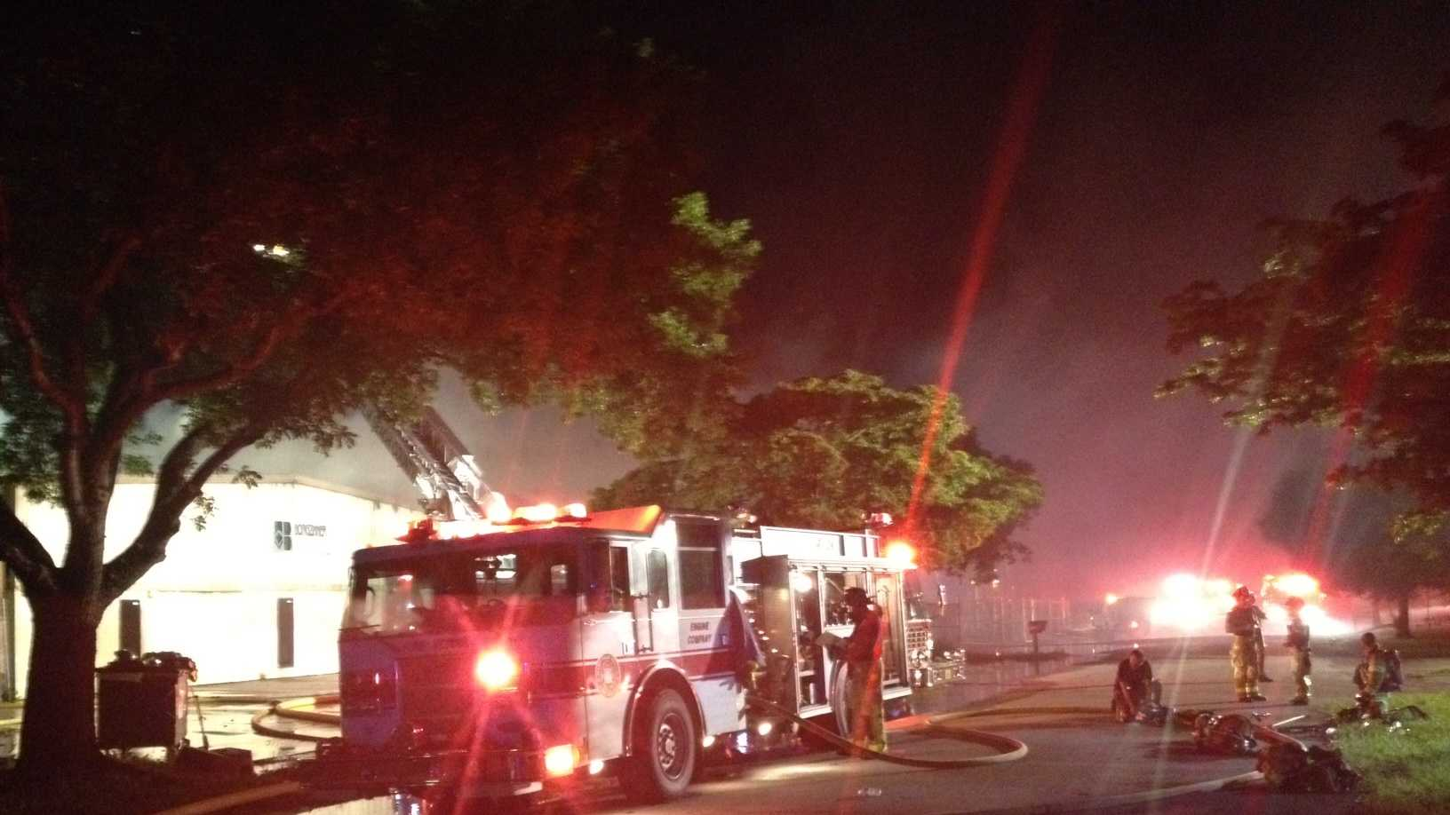 A fire erupted Saturday night at the Borgzinner warehouse.