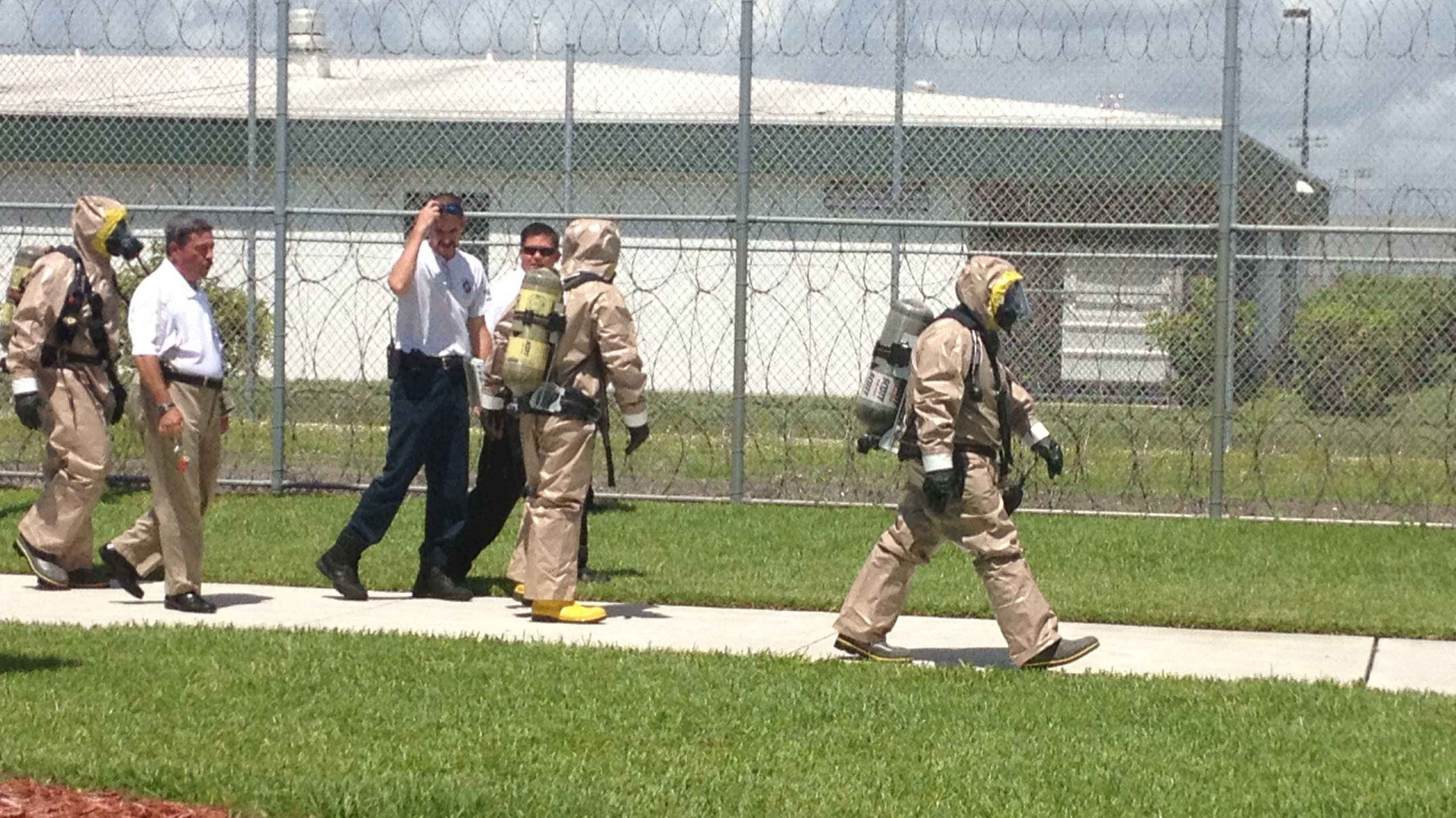 A hazardous materials crew was called to the Martin County Jail.