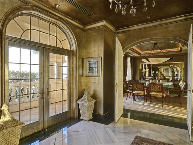 Looking into this elegant, formal dining room.