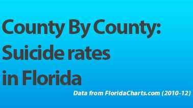 Broward, Miami-Dade and Palm Beach counties were among the Florida counties ranking highest in terms of suicides from 2010-12. View the full list on WPBF.com. (Data from FloridaCharts.com)