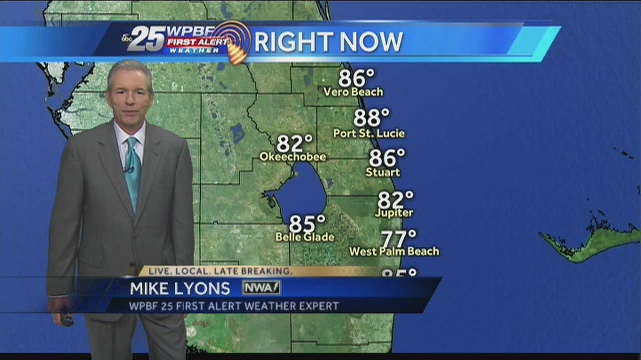 Mike says expect  heavy rain and high temperatures today throughout the Palm Beaches.