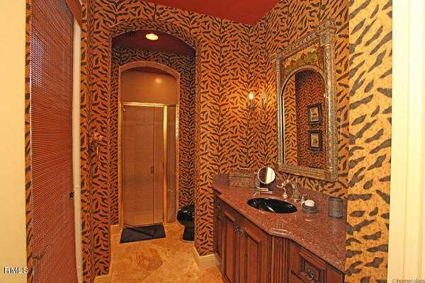 This bathroom has a a fun, exotic twist.