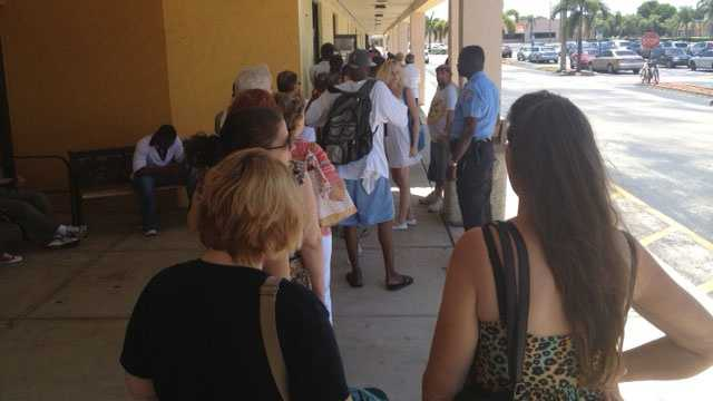 A long line formed outside the Social Security Administration office in Delray Beach.