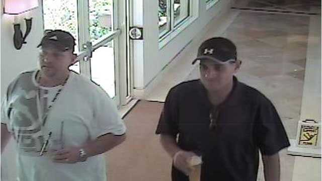 These two men are suspected in recent thefts from hotel spa lockers in Palm Beach.