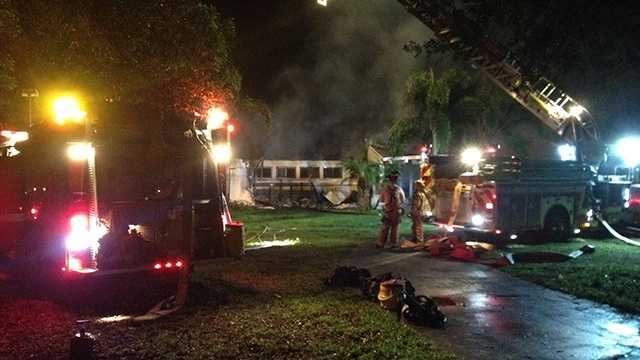 An early-morning fire destroyed a vacant home in Loxahatchee on Monday.