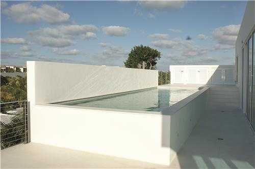Close-up view of the rooftop lap pool.