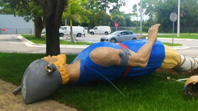 The 20-foot tall, 40-year-old Viking mascot at Jensen Beach Elementary was vandalized.