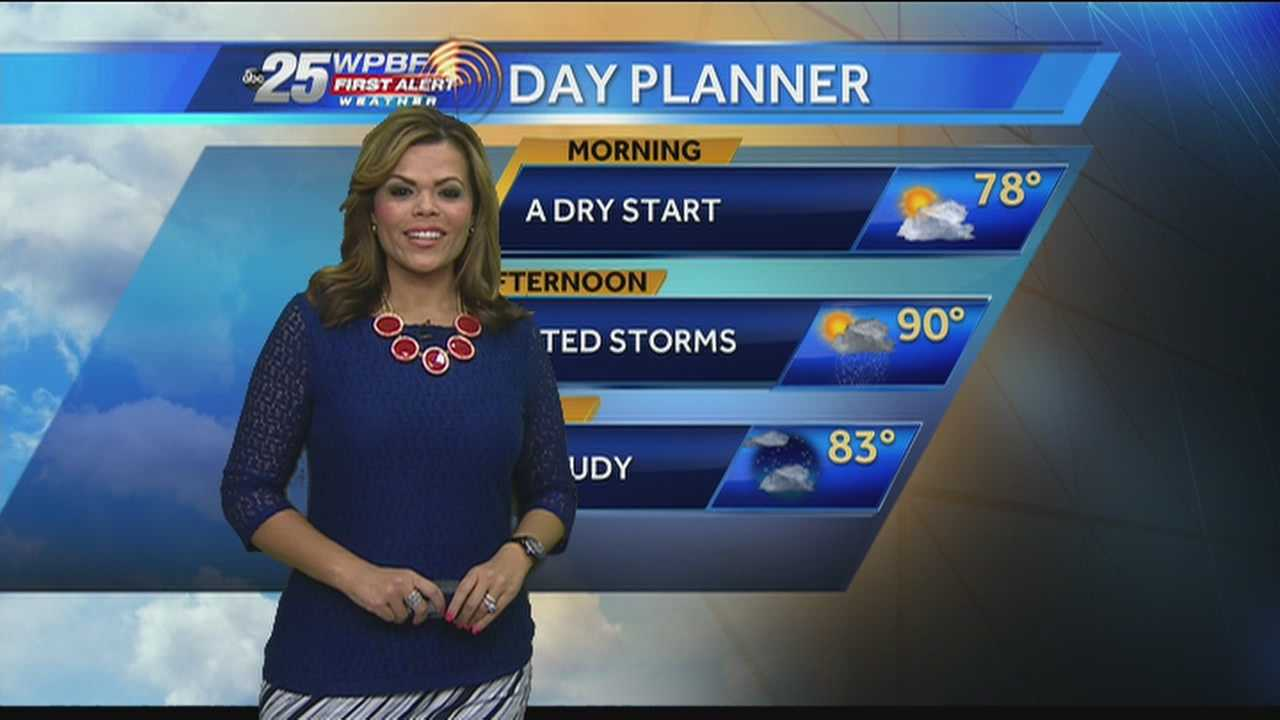 Felicia Rodriguez says there could be a few isolated storms during an otherwise sunny day.