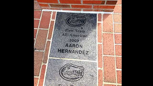 This brick commemorating former Florida Gators tight end Aaron Hernandez is being removed from campus.