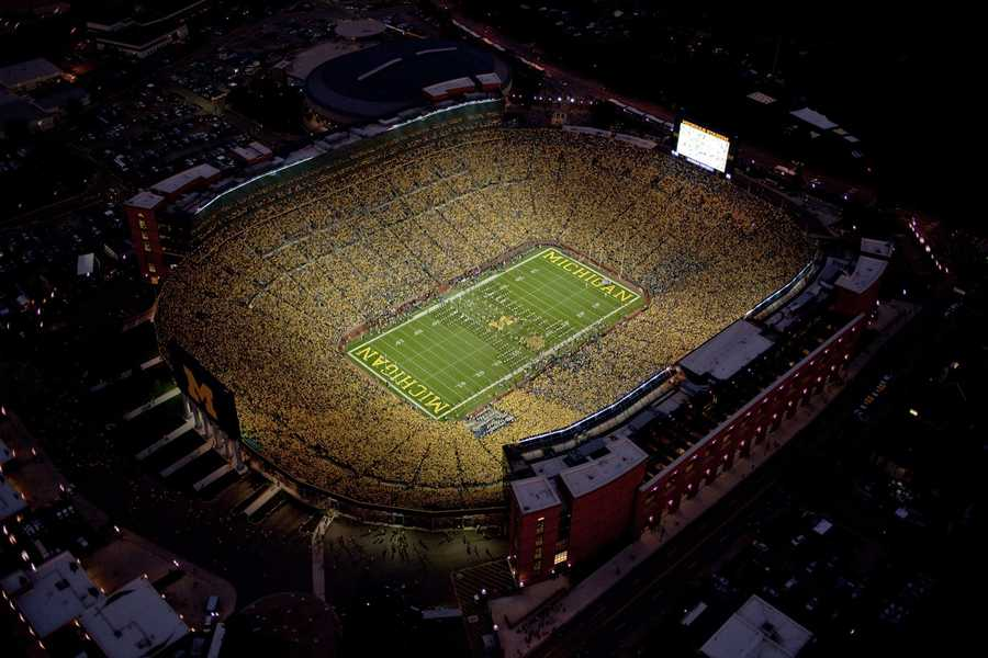 "Perhaps better known as the ""Big House,"" Michigan Stadium seats 109,091, making it the largest stadium in the United States and third-largest in the world. The stadium holds the NCAA record for the largest crowd to watch a game for a bout with the Notre Dame Fighting Irish on Sept. 10, 2011."