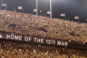 The entire student body at Texas A&M is the 12th Man, and they stand during the entire game to show their support.