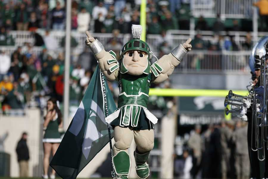 Michigan State's Sparty is one of the most recognizable college mascots in the country. The muscular Spartan won the best mascot national championship three times and was featured on the cover of the Wii version of NCAA Football '09.
