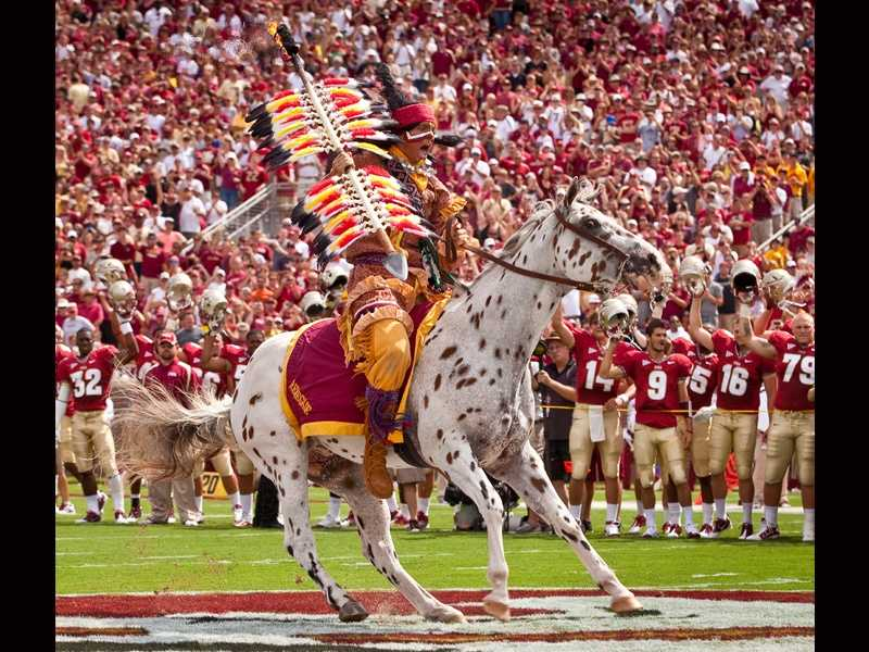 The tradition of Chief Osceola planting a burning spear at midfield while riding his Appaloosa horse, Renegade, before every Florida State home game began in 1978.