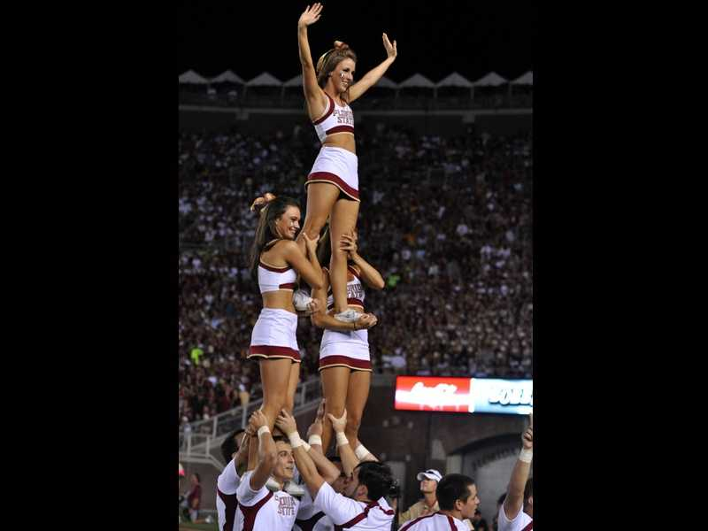With the college days of Jenn Sterger a thing of the past, sideline cutaways by TV crews have returned to the cheerleaders in Tallahassee, right where they belong.