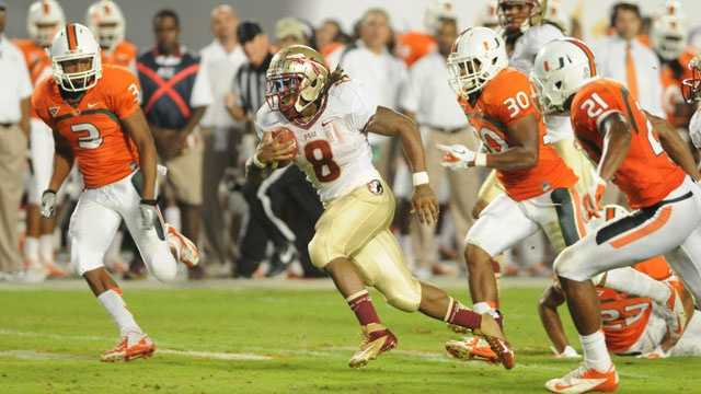 Miami leads the all-time series, but the Seminoles are 6-2 since snapping a six-game losing streak to the state rivals in 2005. Both of those losses have come at home. Devonta Freeman led the Seminoles in rushing with 70 yards and two touchdowns in last year's 33-20 victory.