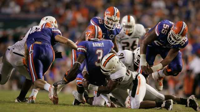 These state rivals haven't met since 2008, when Florida snapped a six-game losing streak to Miami with a 26-3 victory at home. The Gators will try to win at Miami for the first time since 1985. Although Miami narrowly leads the Gators in the all-time series, the Hurricanes have been the dominant team of the past few decades, winning all but four games since 1978.