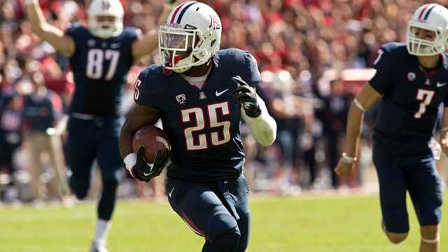 Arizona running back Ka'Deem Carey led the nation in rushing with 1,929 yards last season. As a sophomore in 2012, Carey broke the school record for rushing touchdowns with 23 and set the Pac-12 record for rushing yards in a game with 366.