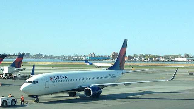 A Delta flight bound for Palm Beach International Airport landed at New York's Kennedy Airport shortly after taking off from LaGuardia Airport nearby on Friday.