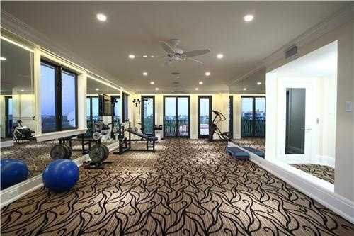 Workout with ease in this elegant home gym.