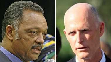 Florida Gov. Rick Scott (right) says Jesse Jackson owes the Sunshine State an apology. (Jackson Photo: AP Graphics Bank/Scott Photo: WPBF File)