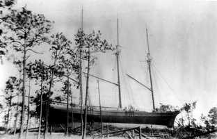 1899: A hurricane sent a schooner onto land in St. George Island.