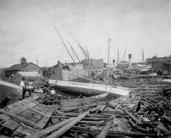 1906: Boats washed ashore in a hurricane that hit Pensacola.  The category 3 storm claimed 164 lives.