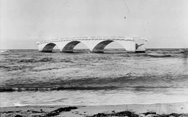 1926: What is left of a bridge in Miami Beach after a hurricane.