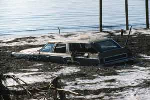 1985: A station wagon was almost washed into the ocean during Hurricane Elena.