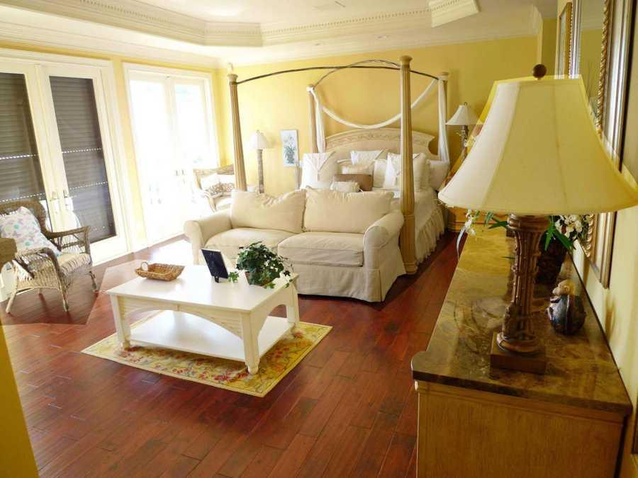 Hardwood floors in the bedroom.