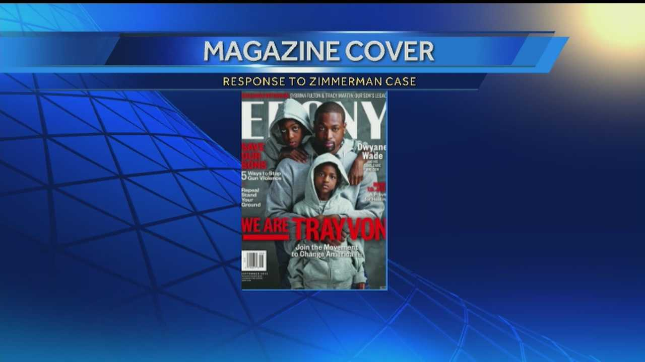Miami Heat star Dwyane Wade says he's making a statement by being on the cover of Ebony magazine with his two sons. All three of them are wearing hoodies in support of Trayvon Martin, the South Florida teen who was shot dead last year.