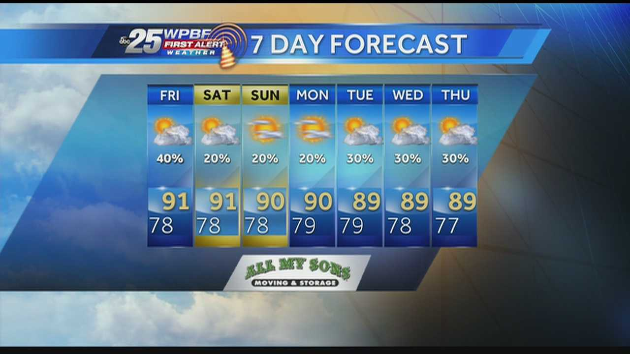 Felicia says rain chances are on the decline around South Florida on Thursday.