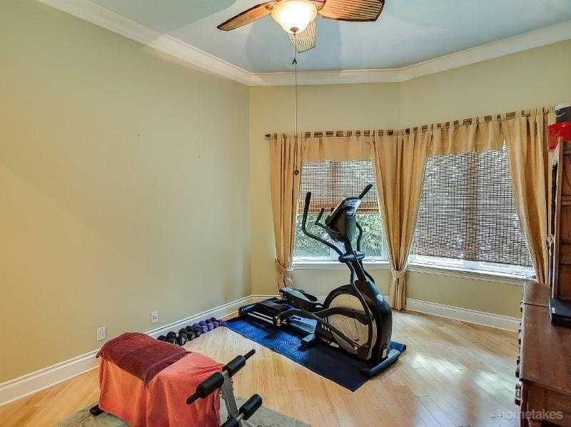 Exercising room offers space for equipment and privacy.