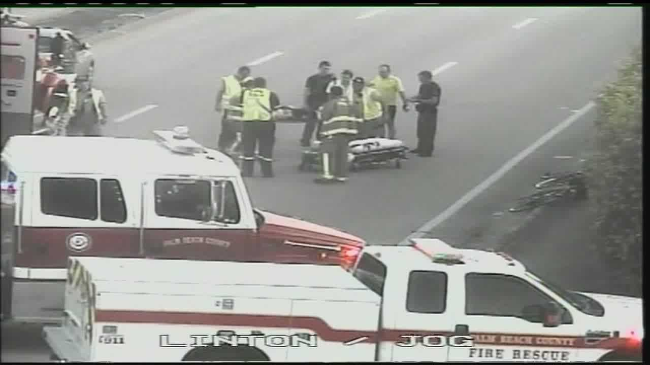 A woman is taken to Delray Medical Center after she was struck by a car while riding her bicycle.