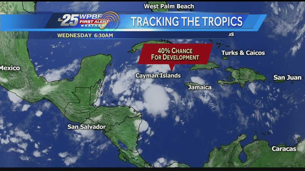 Felicia says there's a good chance for rain on Wednesday, adding that there's a 40 percent chance a system currently brewing in the tropics could develop into our next named storm.