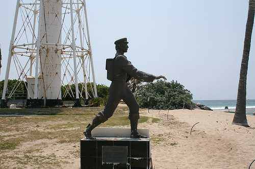 Barefoot Mailman Statue at Hillsboro Beach: The barefoot mail route was named because the carriers walked barefoot on the hard sand at the water's edge. The men were known collectively as the Barefoot Mailman. The carriers' route was approximately 68 miles long -- 28 miles by small boat and 40 on foot along the beach.