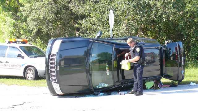 This Jeep landed on its side after a collision in Port St. Lucie.