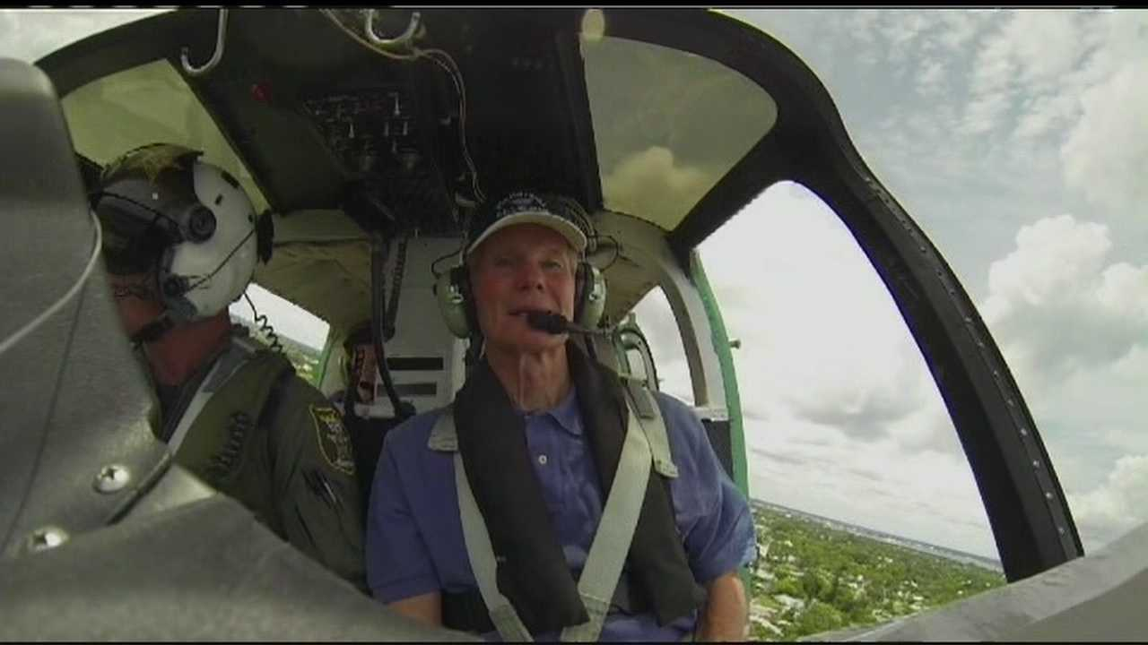 Sen. Bill Nelson, D-Fla., gets a bird's eye view of the polluted St. Lucie River.