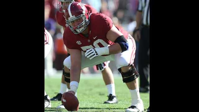 Ryan Kelly replaces two-time consensus All-American Barrett Jones at center for the Alabama Crimson Tide. The sophomore played in 10 games last season as a backup.