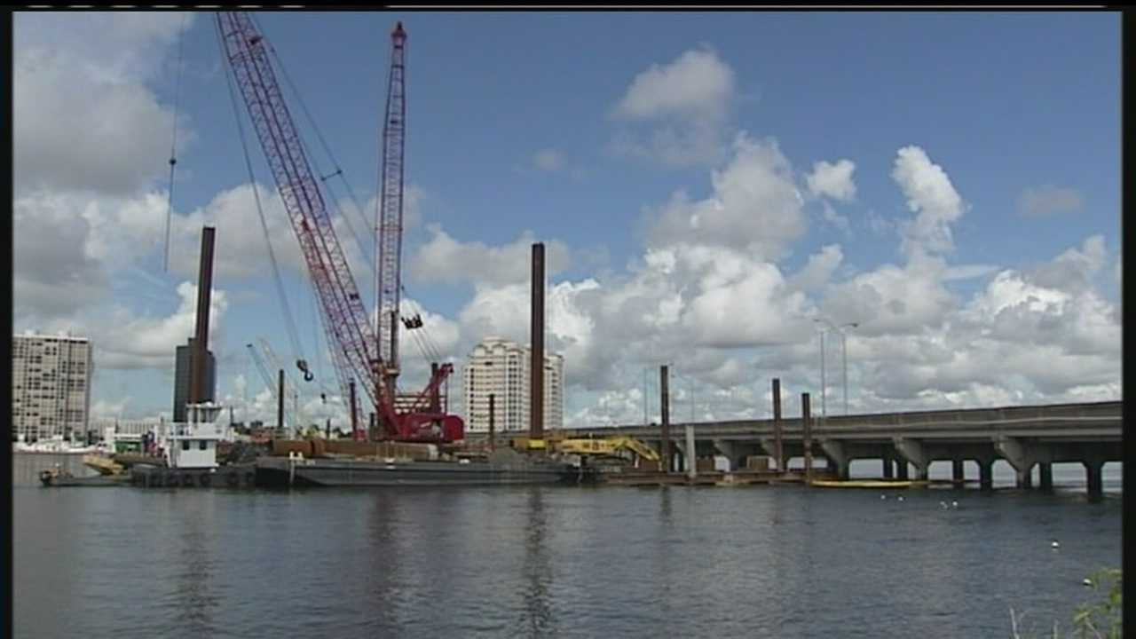 A part of the old Flagler Memorial Bridge is being removed, so expect a different traffic pattern.