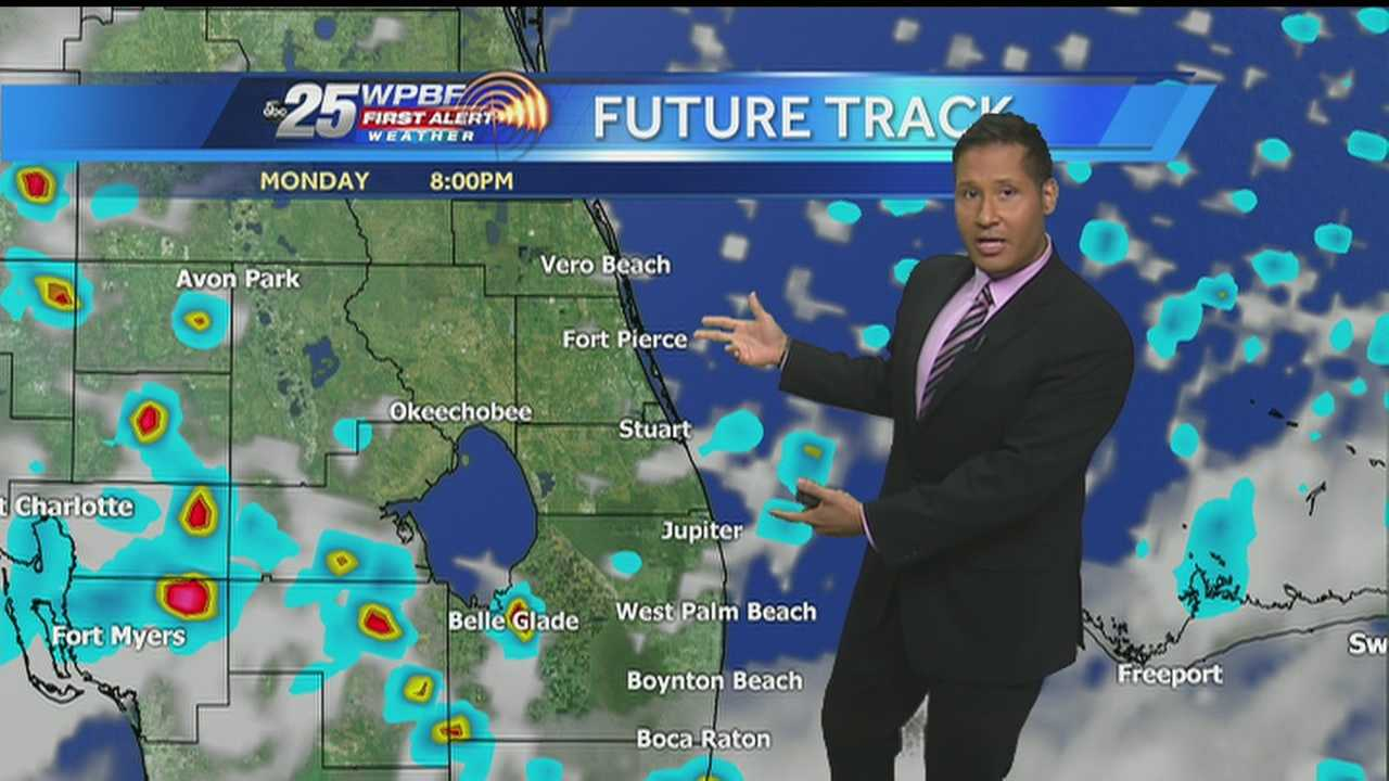 Cris says we can expect continued heat and sunshine, as well as showers and possibly storms on Monday.