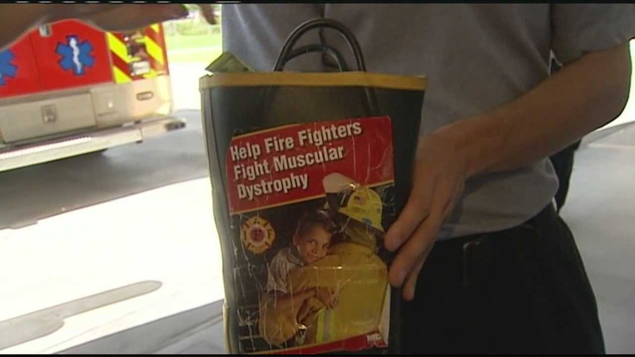 "Palm Beach County firefighters are asking the public to help them ""Fill the Boot"" for the Muscular Dystrophy Association."