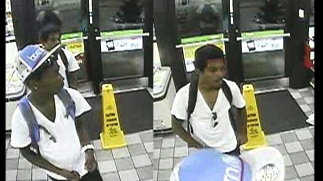 Police are trying to identify these two armed carjackers captured on surveillance at a 7-Eleven in Boynton Beach.